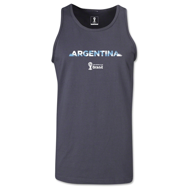 Argentina 2014 FIFA World Cup Brazil(TM) Men's Palm Tank Top (Dark Grey)
