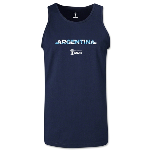 Argentina 2014 FIFA World Cup Brazil(TM) Men's Palm Tank Top (Navy)