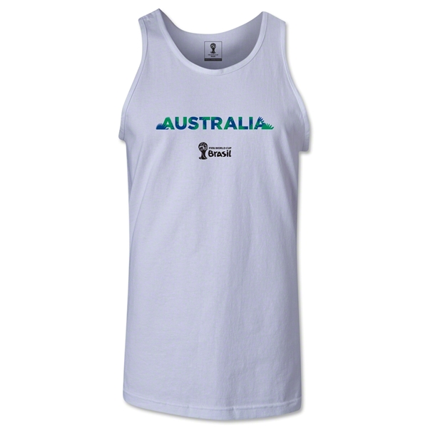 Australia 2014 FIFA World Cup Brazil(TM) Men's Palm Tank Top (White)