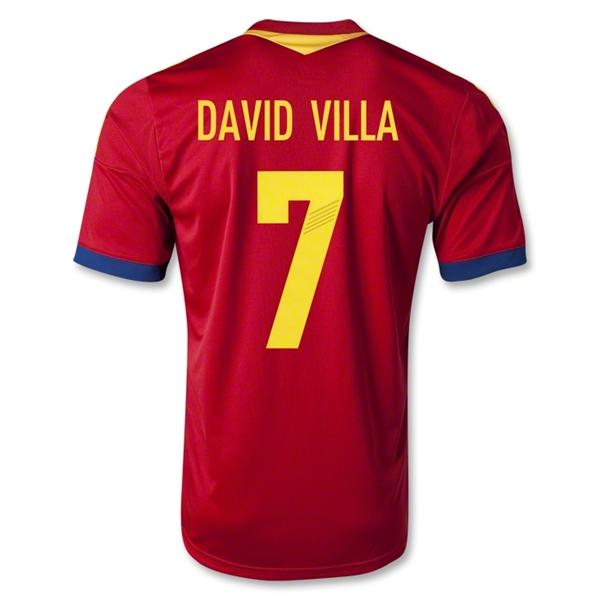 Spain 2013 DAVID VILLA Home Soccer Jersey