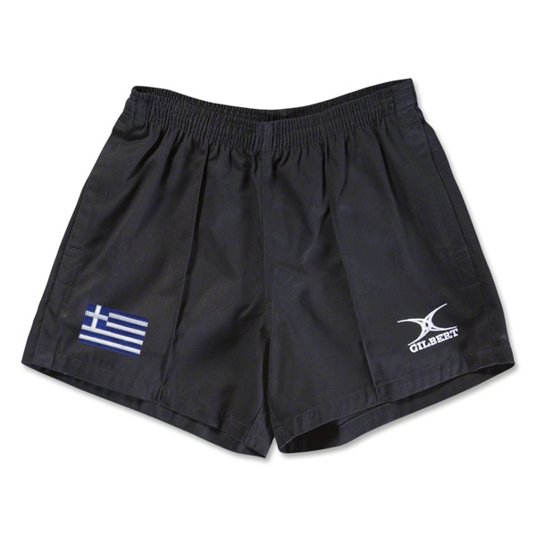 Greece Flag Kiwi Pro Rugby Shorts (Black)