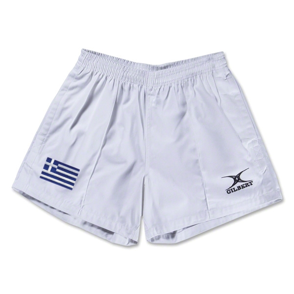 Greece Flag Kiwi Pro Rugby Shorts (White)