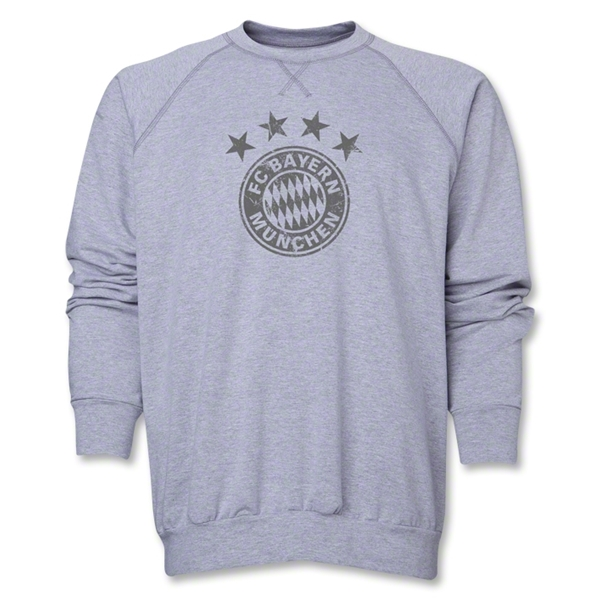 Bayern Munich Team Badge Crew Neck Fleece (Gray)