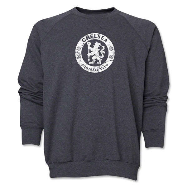 Chelsea Distressed Emblem Crewneck Fleece (Dark Gray)