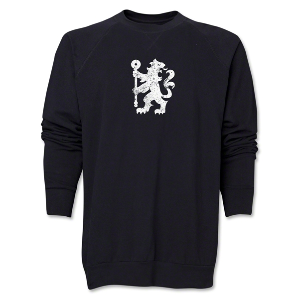 Chelsea Distressed Lion Crewneck Fleece (Black)
