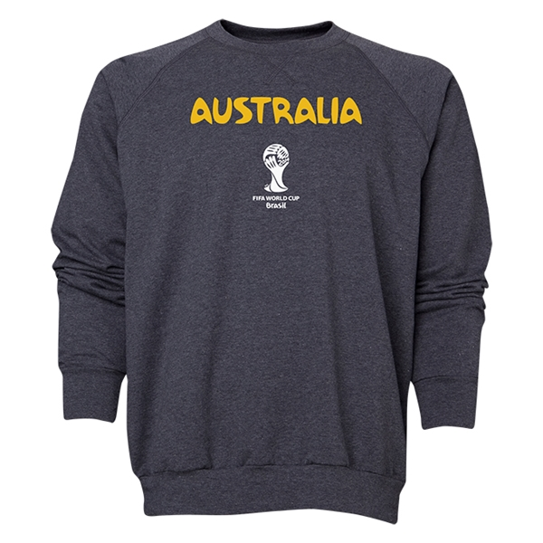 Australia 2014 FIFA World Cup Brazil(TM) Men's Core Crewneck Sweatshirt (Dark Grey)