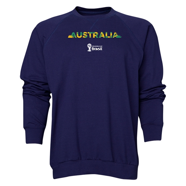 Australia 2014 FIFA World Cup Brazil(TM) Men's Palm Crewneck Sweatshirt (Navy)