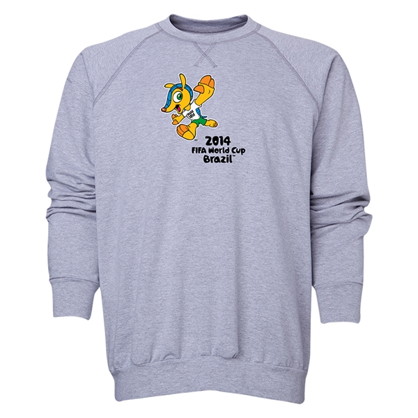 2014 FIFA World Cup Brazil(TM) Men's Official Mascot Crewneck Sweatshirt (Grey)