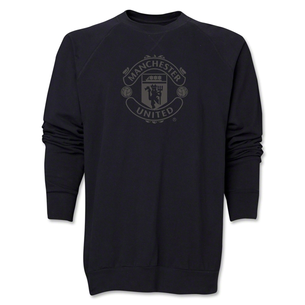 Manchester United Tonal Crest Crewneck Fleece (Black)