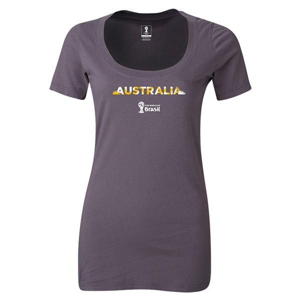 Australia 2014 FIFA World Cup Brazil(TM) Women's Palm Scoopneck T-Shirt (Dark Grey)
