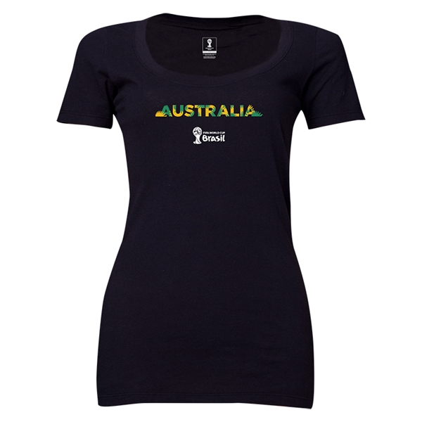 Australia 2014 FIFA World Cup Brazil(TM) Women's Palm Scoopneck T-Shirt (Black)