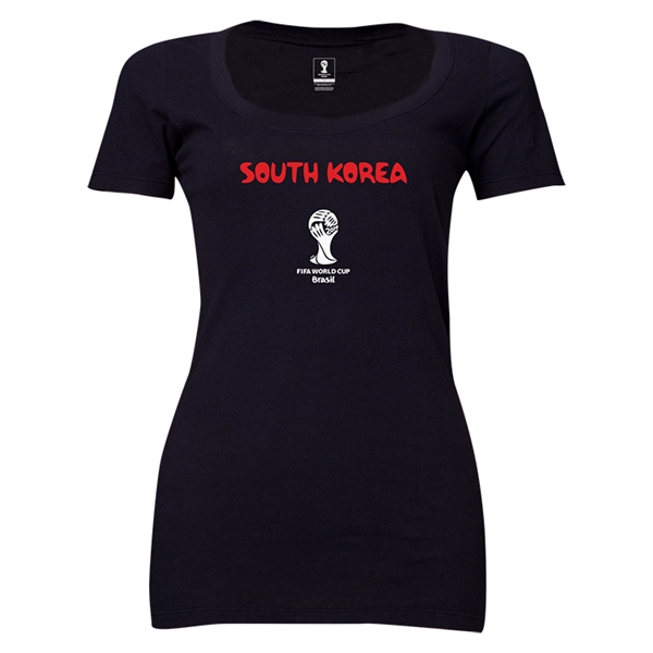 South Korea 2014 FIFA World Cup Brazil(TM) Women's Core Scoopneck T-Shirt (Black) Scoopneck T-Shirt (Dark Grey)