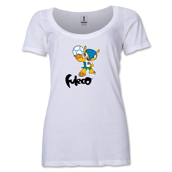2014 FIFA World Cup Brazil(TM) Women's Official Mascot Scoopneck T-Shirt (White)