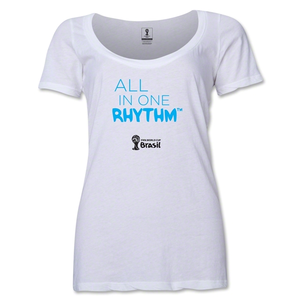 2014 FIFA World Cup Brazil(TM) Women's All in One Rhythm Scoopneck T-Shirt (White) Scoopneck T-Shirt (Dark Grey)