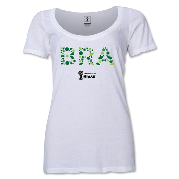 Brazil 2014 FIFA World Cup Brazil(TM) Women's Elements Scoopneck T-Shirt (White)