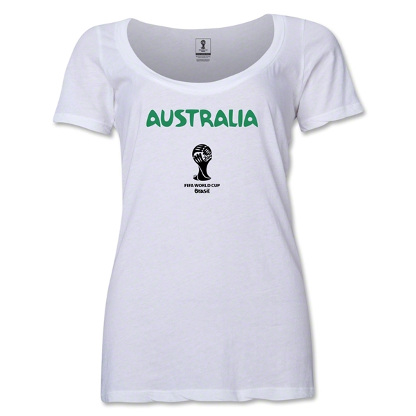 Australia 2014 FIFA World Cup Brazil(TM) Women's Core Scoopneck T-Shirt (White)