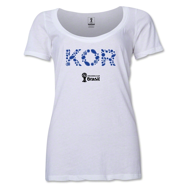 South Korea 2014 FIFA World Cup Brazil(TM) Women's Elements Scoopneck T-Shirt (White) Scoopneck T-Shirt (Dark Grey)