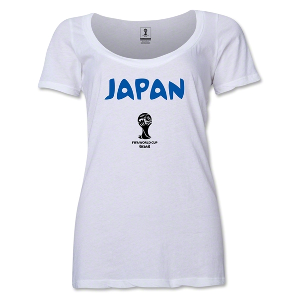 Japan 2014 FIFA World Cup Brazil(TM) Women's Core Scoopneck T-Shirt (White)