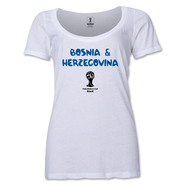 Bosnia-Herzegovina 2014 FIFA World Cup Brazil(TM) Women's Core Scoopneck T-Shirt (White) Scoopneck T-Shirt (Dark Grey)