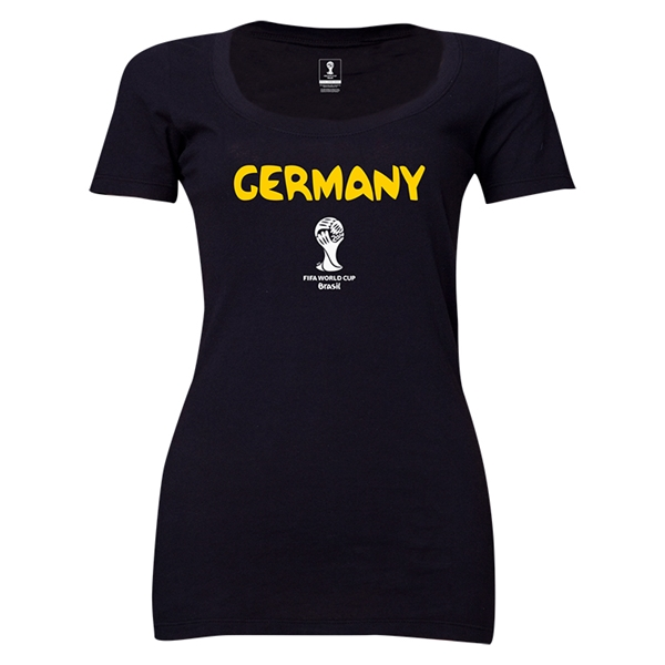 Germany 2014 FIFA World Cup Brazil(TM) Women's Core Scoopneck T-Shirt (Black)