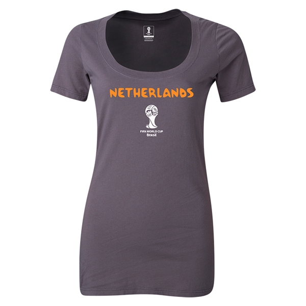Netherlands 2014 FIFA World Cup Brazil(TM) Women's Core Scoopneck T-Shirt (Dark Grey) Scoopneck T-Shirt (Dark Grey)
