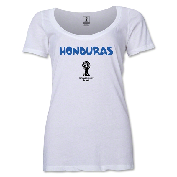 Honduras 2014 FIFA World Cup Brazil(TM) Women's Core Scoopneck T-Shirt (White)