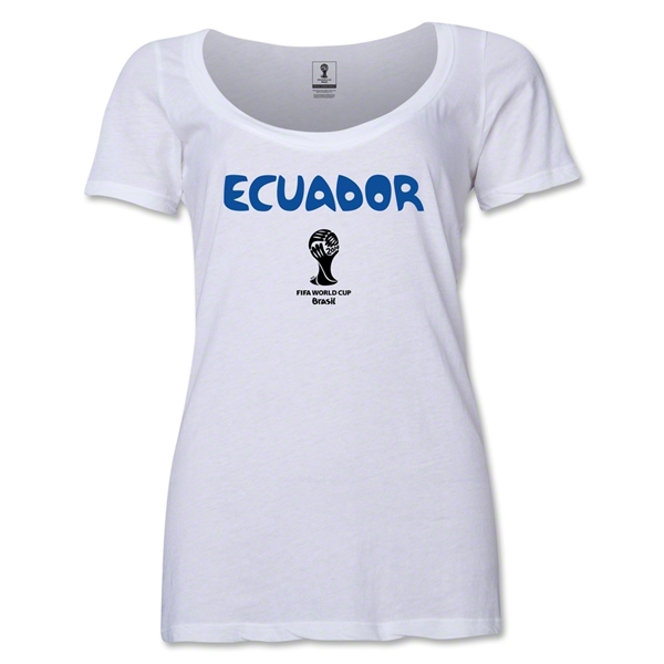 Ecuador 2014 FIFA World Cup Brazil(TM) Women's Core Scoopneck T-Shirt (White)