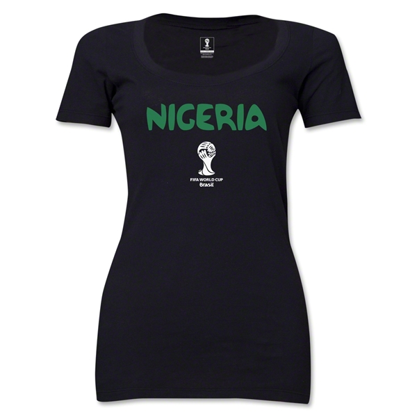 Nigeria 2014 FIFA World Cup Brazil(TM) Core Women's Scoopneck T-Shirt (Black)