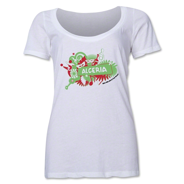 Algeria 2014 FIFA World Cup Brazil(TM) Women's Celebration Scoopneck T-Shirt (White)