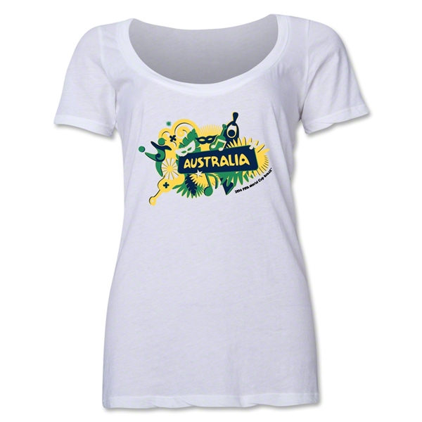 Australia 2014 FIFA World Cup Brazil(TM) Women's Celebration Scoopneck T-Shirt (White)