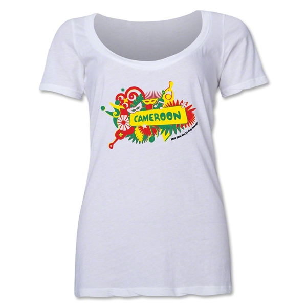 Cameroon 2014 FIFA World Cup Brazil(TM) Women's Celebration Scoopneck T-Shirt (White)