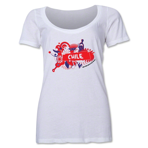 Chile 2014 FIFA World Cup Brazil(TM) Women's Celebration Scoopneck T-Shirt (White)