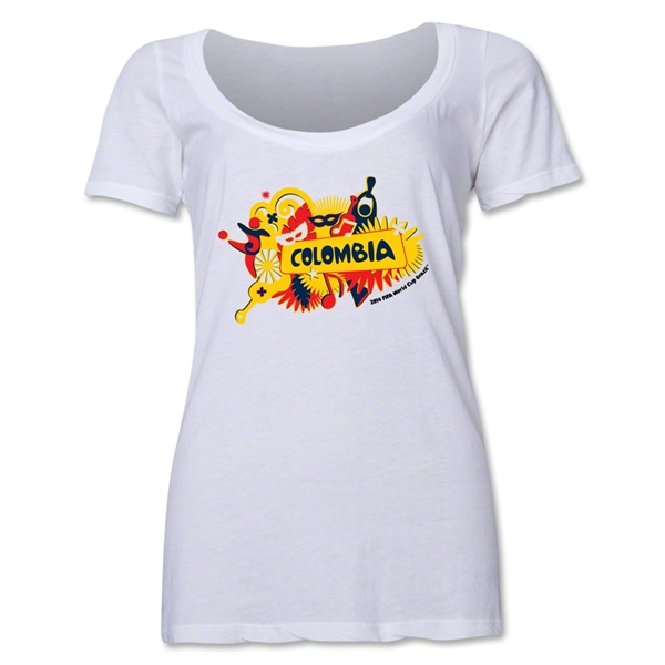 Colombia 2014 FIFA World Cup Brazil(TM) Women's Celebration Scoopneck T-Shirt (White)