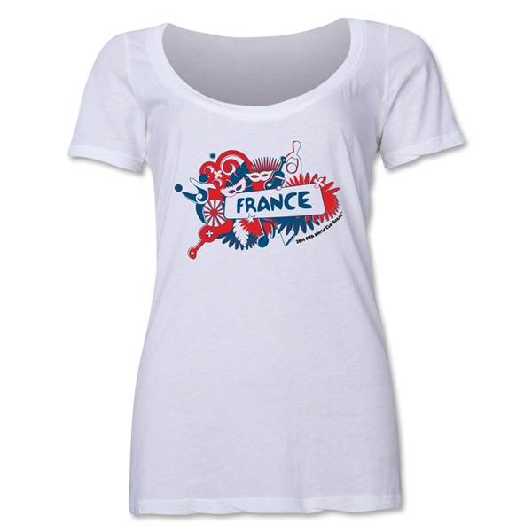 France 2014 FIFA World Cup Brazil(TM) Women's Celebration Scoopneck T-Shirt (White)