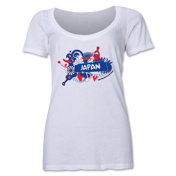 Japan 2014 FIFA World Cup Brazil(TM) Women's Celebration Scoopneck T-Shirt (White)