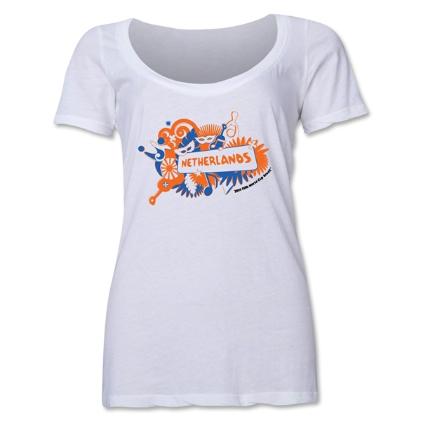 Netherlands 2014 FIFA World Cup Brazil(TM) Women's Celebration Scoopneck T-Shirt (White)