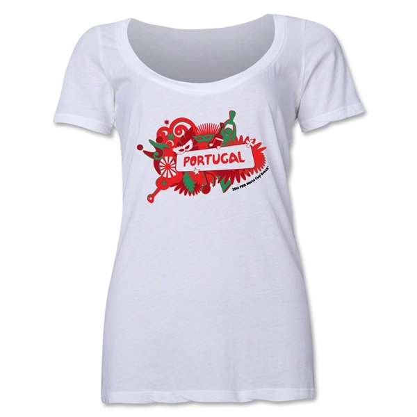 Portugal 2014 FIFA World Cup Brazil(TM) Women's Celebration Scoopneck T-Shirt (White)
