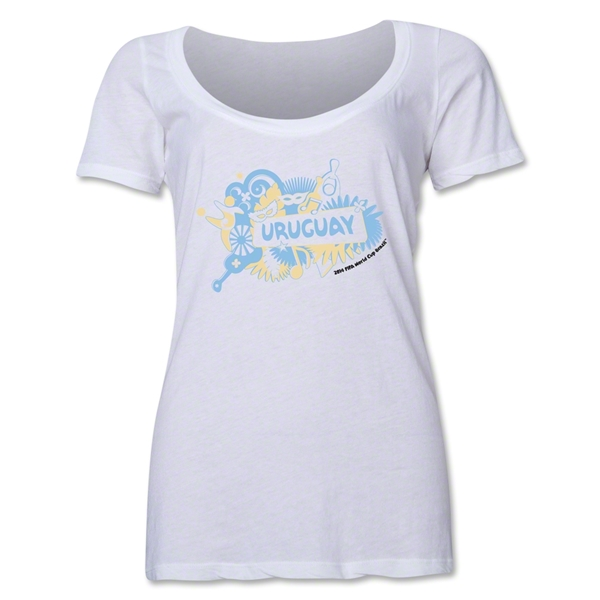 Uruguay 2014 FIFA World Cup Brazil(TM) Women's Celebration Scoopneck T-Shirt (White)