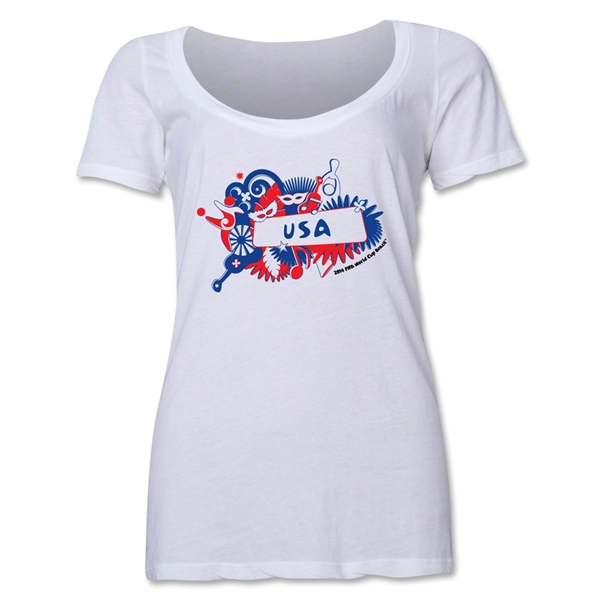 USA 2014 FIFA World Cup Brazil(TM) Women's Celebration Scoopneck T-Shirt (White)