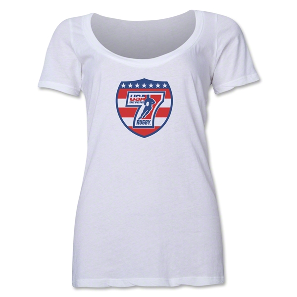 USA Sevens Rugby Women's Scoop Neck T-Shirt (White)