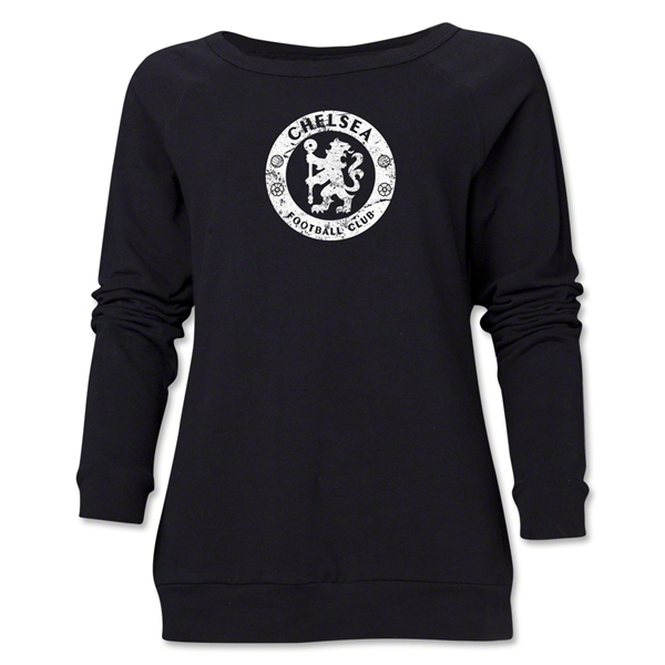 Chelsea Distressed Emblem Women's Crewneck Fleece (Black)