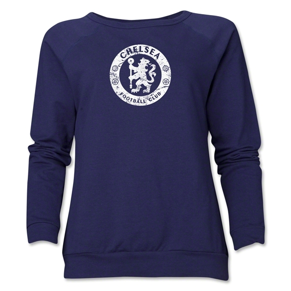 Chelsea Distressed Emblem Women's Crewneck Fleece (Navy)