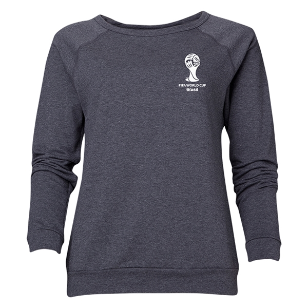 2014 FIFA World Cup Brazil(TM) Women's Official Emblem Crewneck Sweatshirt (Dark Grey)