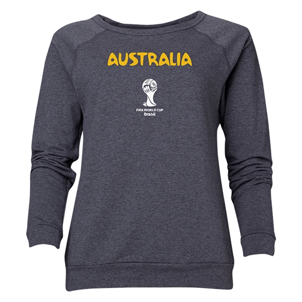 Australia 2014 FIFA World Cup Brazil(TM) Women's Core Crewneck Sweatshirt (Dark Grey)