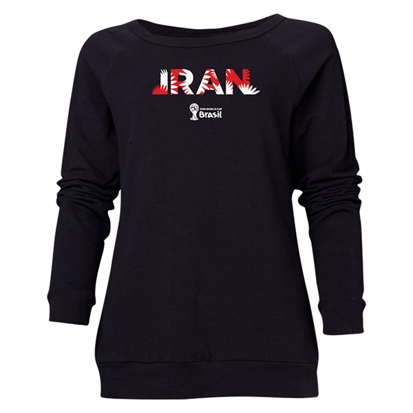 Iran 2014 FIFA World Cup Brazil(TM) Women's Palm Crewneck Sweatshirt (Black)