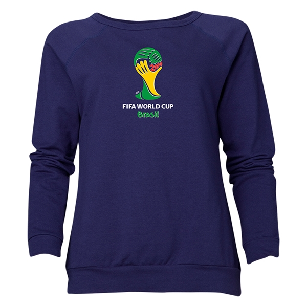 2014 FIFA World Cup Brazil(TM) Women's Official Emblem Crewneck Sweatshirt (Navy)