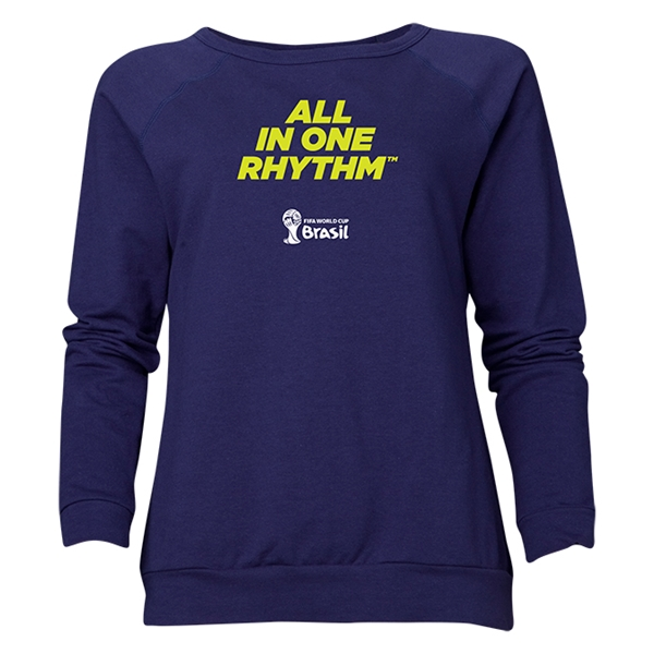 2014 FIFA World Cup Brazil(TM) Women's All in One Rhythm Crewneck Sweatshirt (Navy)