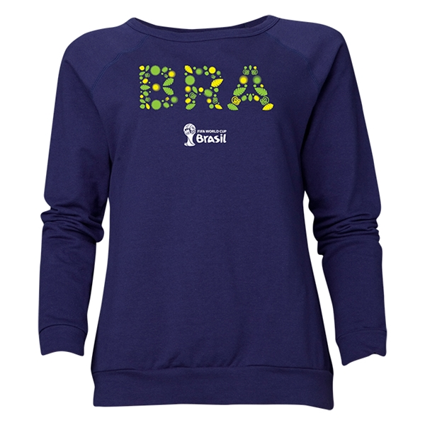 Brazil 2014 FIFA World Cup Brazil(TM) Women's Elements Crewneck Sweatshirt (Navy)