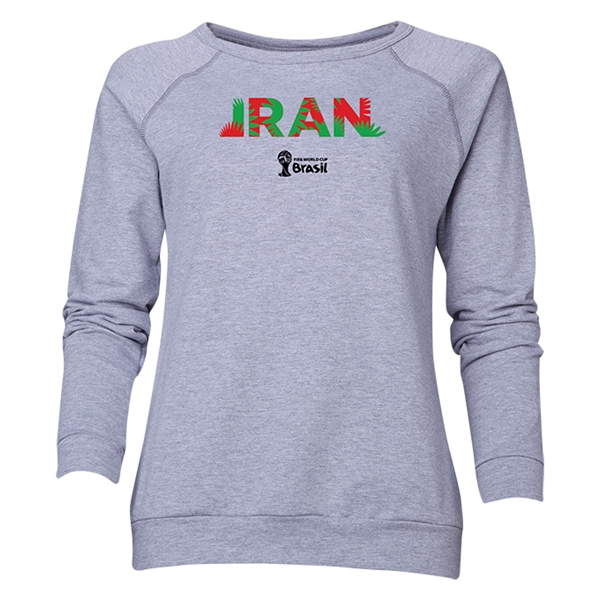 Iran 2014 FIFA World Cup Brazil(TM) Women's Palm Crewneck Sweatshirt (Grey)