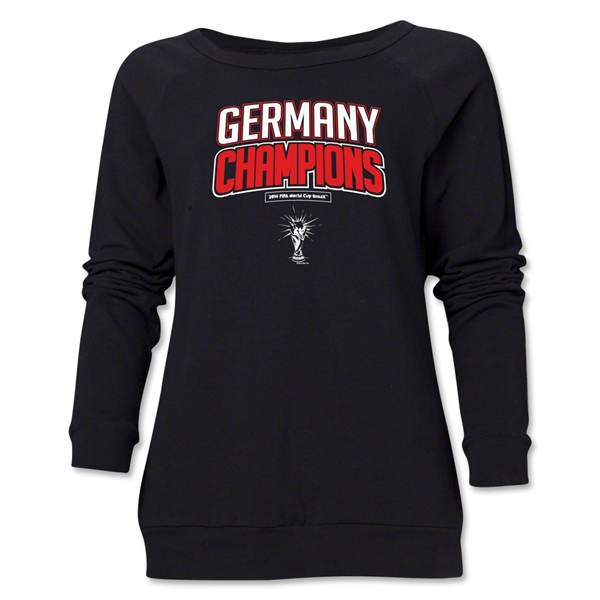 Germany 2014 FIFA World Cup Brazil(TM) Champions Logotype Women's Crewneck (Black)